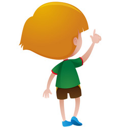 Back of little boy in green shirt vector