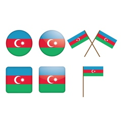badges with flag of Azerbaijan vector image