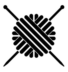 Ball of wool yarn and knitting needles icon black vector