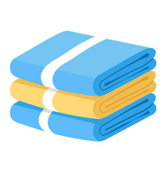 Bath towels stack bathroom textile objects pile vector