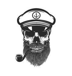 bearded skull sea captain design element vector image