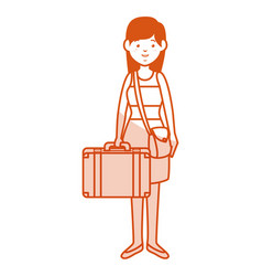 Beautiful and young woman with suitcase character vector