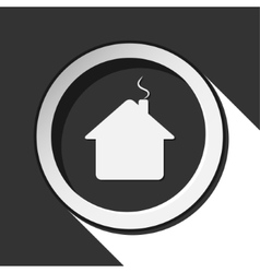 Black icon - home with shadow vector