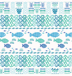 blue fish doodle collage vector image