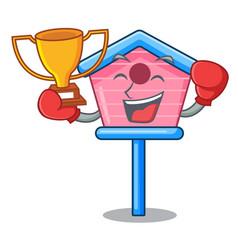 Boxing winner bird house on a tree cartoon vector