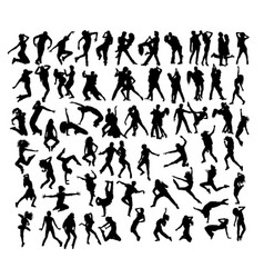Break dancer silhouettes vector