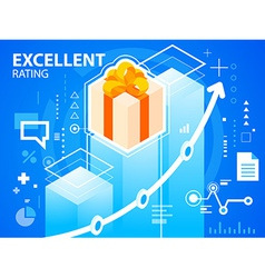 bright excellent rating and gift box with bo vector image