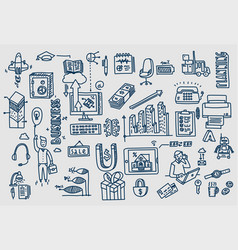 business doodles hand drawn elements vector image
