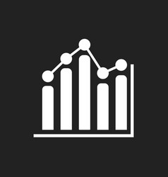 Business graph icon chart flat on black background vector