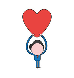 Businessman character holding up heart color and vector