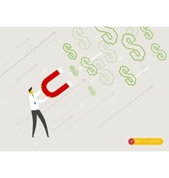 Businessman magnet attracts money vector