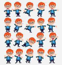 Cartoon character white boy with glasses set with vector