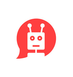 Chatbot in red speech bubble vector