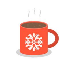 christmas drink hot coffee hot chocolate flat vector image