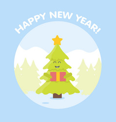 Christmas tree cartoon characters new year card vector
