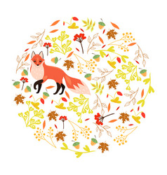 circle autumn decorative elements and fox can vector image