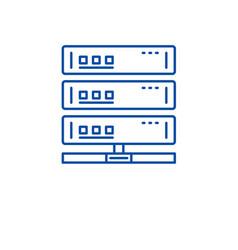 cloud server line icon concept cloud server flat vector image