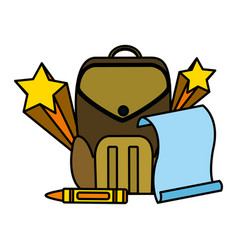 Color education backpack and paper with art crayon vector