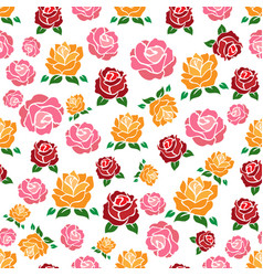colorful roses seamless pattern vector image