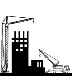 Construction of buildings wich crane vector