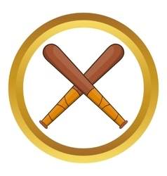 Crossed baseball bats icon vector