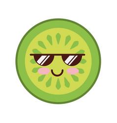 cucumber slice kawaii character vector image