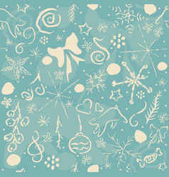 cute hand drawn winter pattern seamless pattern vector image