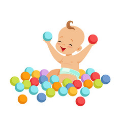 cute happy baby sitting and playing with vector image vector image