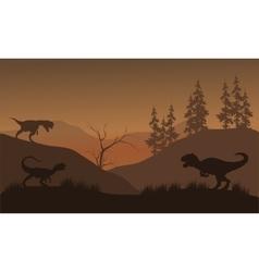 Dinosaur Dilophosaurus silhouette vector