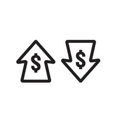 Dollar increase decrease icon money symbol with vector