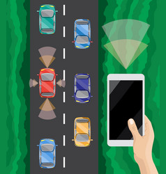 driver assistance system self-driving car vector image