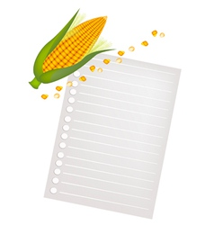 Ears of yellow corns with a blank paper vector
