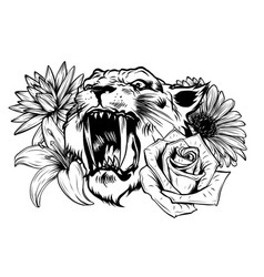 face a tiger in leaves tropical vector image