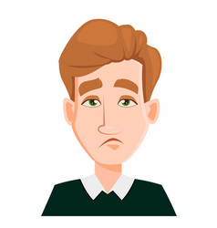 face expression of a man with blond hair - tired vector image
