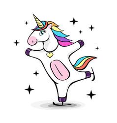 fantasy skating unicorn cartoon style vector image