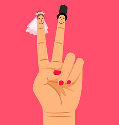 Finger puppets of bride and groom vector