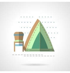 Fishing tent flat color design icon vector image
