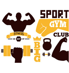 fitness emblem design element gym sport club vector image