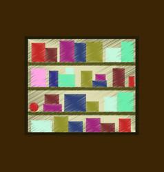 Flat shading style icon bookshelf vector