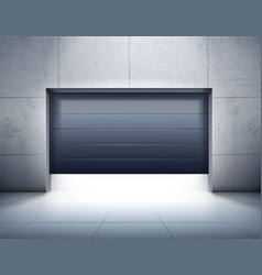 Garage opening realistic composition vector