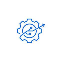 Gear tech improvement logo icon in line outline vector