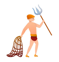 Gladiator with fight fork icon cartoon style vector