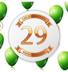 Golden number twenty nine years anniversary vector image