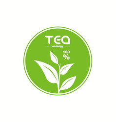 green tea leaf logo isolated on white background vector image