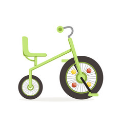 Green tricycle for children kids bicycle vector