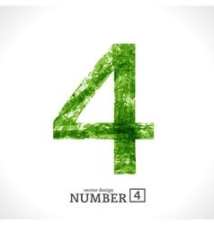 Grunge Number 4 vector image