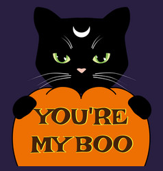 Halloween card with black cat and carved pumpkin vector