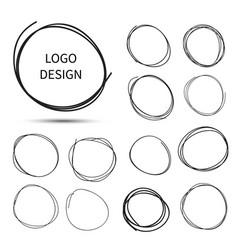 Hand drawn circles for logo design vector
