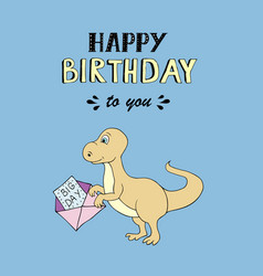 happy birthday lettering party with baby dino vector image