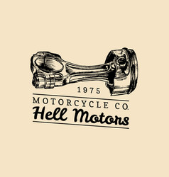 Hell motors vintage motorcycle repair logo vector